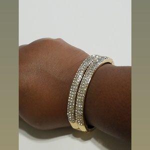 Gold Hinge Rhinestone Bangle Bracelet